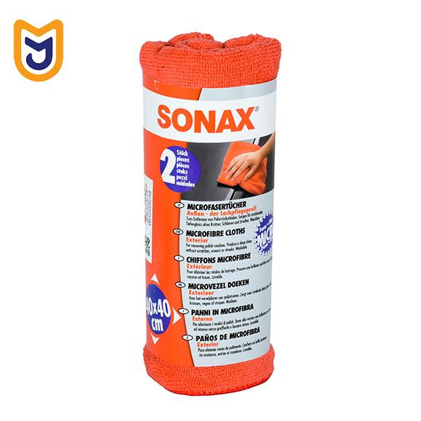 دستمال حوله ای تمیز کننده بدنه خودرو مایکرو فایبر سوناکس SONAX (بسته دو عددی)